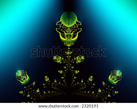 High resolution fractal rendering of jellyfish rising from the depths of the ocean - stock photo