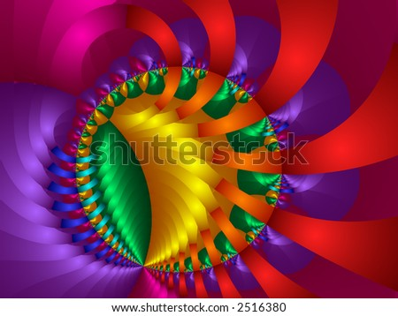 High resolution fractal rendering of rainbow colored balls and and ribbons - stock photo