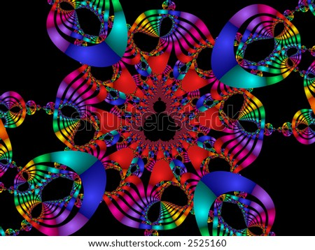 high resolution fractal rendering of rainbow masks or mardi gras celebration - stock photo