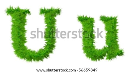 High resolution grass fonts isolated on white background