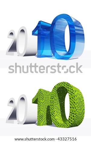 High resolution green and blue 3D 2010 year isolated on white background - stock photo