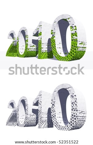 High resolution green and white 3D 2010 year isolated on white background - stock photo