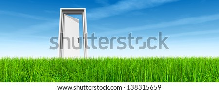 High resolution green, fresh and natural 3d conceptual grass over a blue sky background, a opened door at horizon ideal for religion,home,recreation,faith,business,success,opportunity or future banner - stock photo