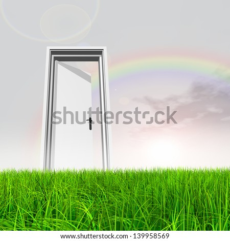High resolution green, fresh and natural 3d conceptual grass over a blue sky rainbow background, a opened door at horizon ideal for religion,home,recreation,faith,business,success,oportunity or future