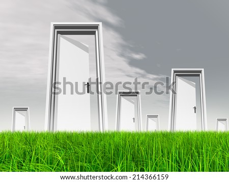 High resolution green, fresh and natural 3d conceptual grass over a gray sky background, a opened door at horizon ideal for religion, home, recreation, faith, business, success, opportunity or future