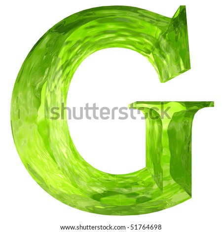 High resolution green glass font isolated on white background - stock photo