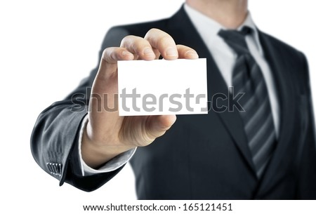 high resolution hand holding card - stock photo