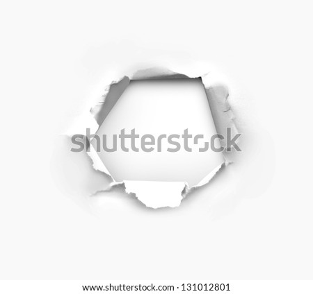 high resolution hole in white paper - stock photo