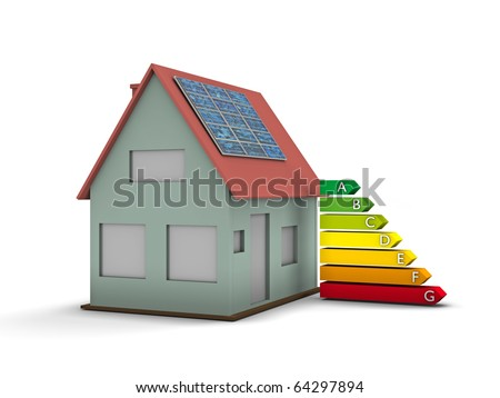 High resolution house with solar panel and Energy chart symbol. Conceptual image for green architecture, alternative energy or power saving and rating with copy space - stock photo