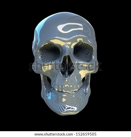 high resolution human scull made of glossy carbon