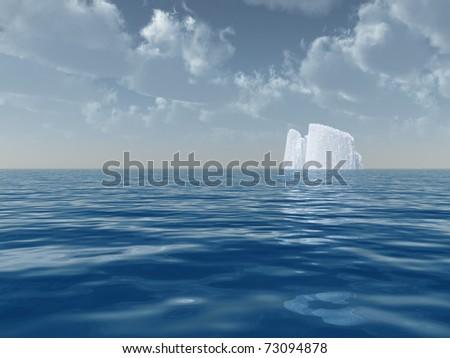 High Resolution Iceberg in open sea - stock photo