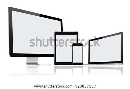 High resolution illustration set of modern computer monitor, laptop, tablet pc and mobile phone with blank screen - stock photo