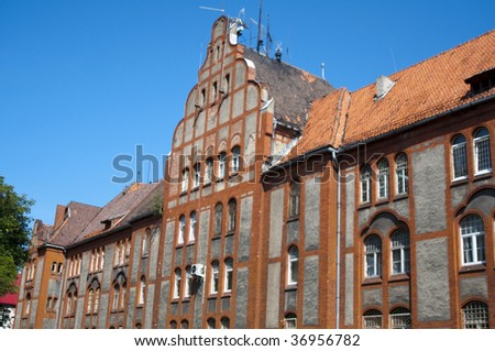 High resolution image. Building in ancient style. Ancient city house. - stock photo