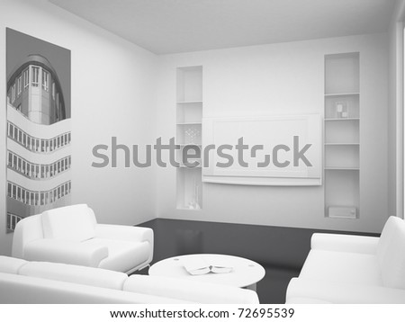 High resolution image. 3d rendered illustration. Interior of the modern room.
