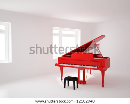 High resolution image 3d room with a grand piano. 3d illustration. - stock photo