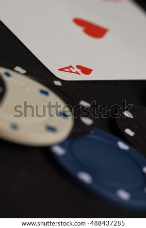 High resolution image depicting poker cards and chips concept.