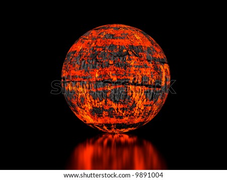 High resolution image fiery sphere. 3d illustration over  black backgrounds. - stock photo