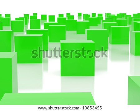 High resolution image  green cubes. 3d illustration over  white backgrounds.