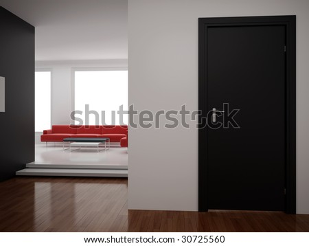 High resolution image interior. 3d illustration modern interior. Living room. - stock photo