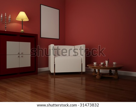 High resolution image interior. 3d illustration modern interior. Living room.
