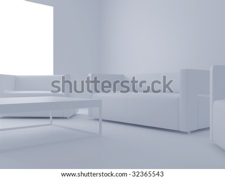 High resolution image interior. 3d illustration modern interior. The plasma TV.