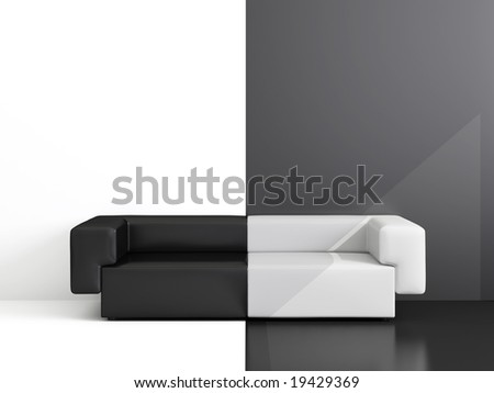 High Resolution Image Interior Drawing Room With A White And Black Sofa