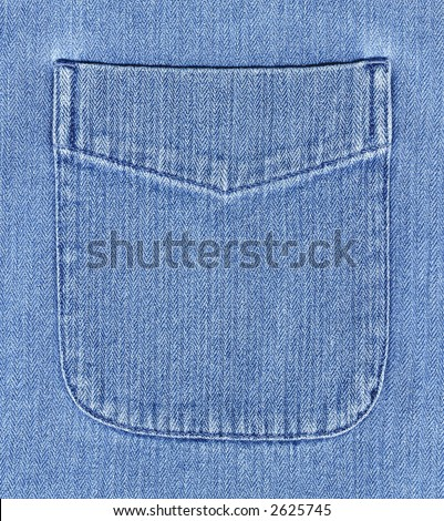 High resolution image of a denim shirt pocket