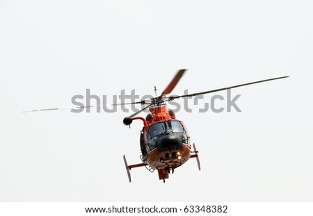 High resolution image of a red helicopter