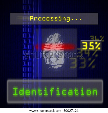 High resolution image of biometric fingerprint scan for identification. Useful for access or security concepts. - stock photo