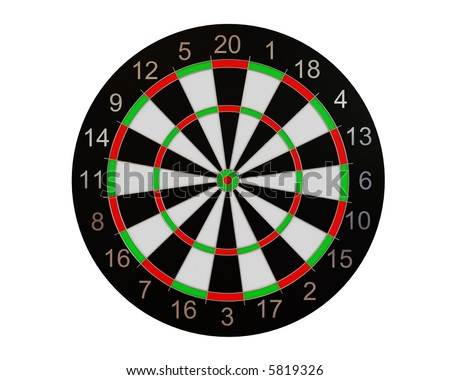 High resolution image of dart board over white backgrounds.
