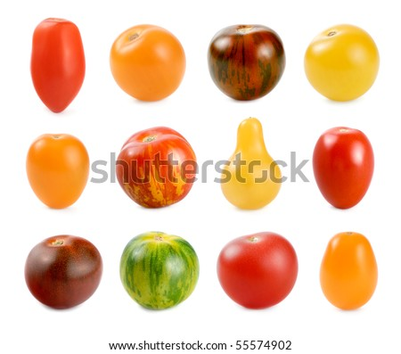 High resolution image of 12 different sorts of small tomatoes on white background - stock photo