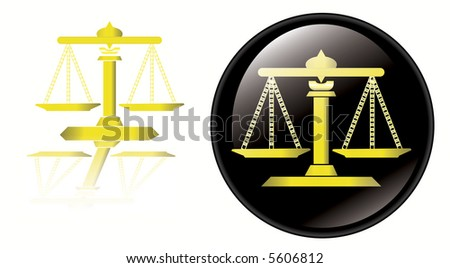 High resolution image of legal scales alone and legal scales in button