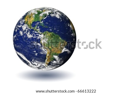 High resolution image of the globe isolated on a white background with a shadow. Earth Map courtesy of NASA