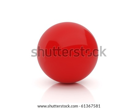 High resolution image red sphere. 3d illustration over  white backgrounds. - stock photo