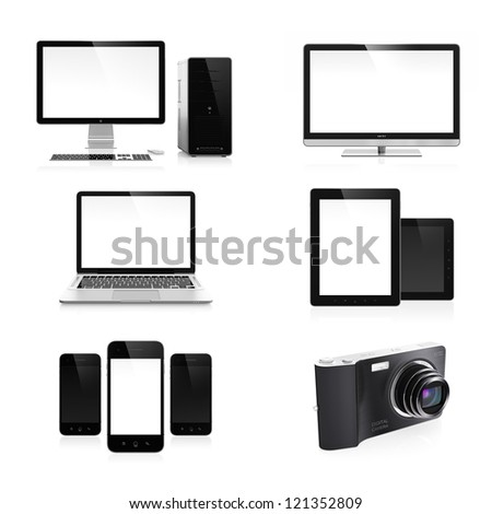 High resolution image set of modern electronic devices isolated on white background - stock photo