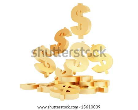 High resolution image symbol dollar. 3d illustration over  white backgrounds. - stock photo