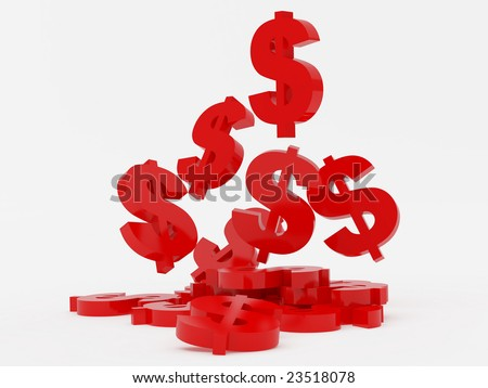 High resolution image symbol dollar. 3d illustration over  white backgrounds.