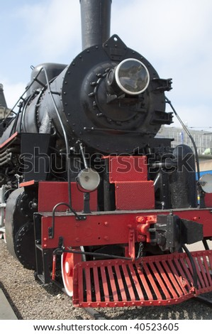 High resolution image. Vintage steam locomotive. Ancient train with a steam locomotive.