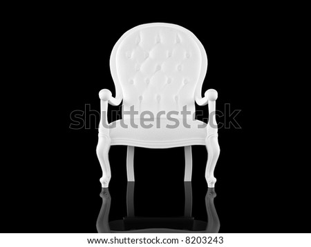 High resolution image white armchair. 3d illustration over  black backgrounds.