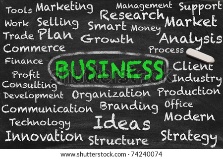 High resolution image with chalk keywords on black chalkboard about successful business. Illustration for the most important terms in building or optimizing a profitable organization.