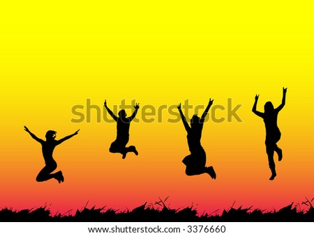 High resolution JPG image of Happy people jumping - stock photo