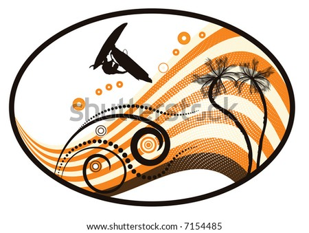 High resolution JPG of a groovy grunge vector tropical design with windsurfer in the air - stock photo