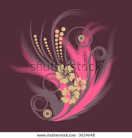 high resolution JPG of a trendy abstract flower illustration