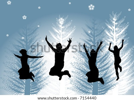 High resolution JPG of happy people in winter time - stock photo