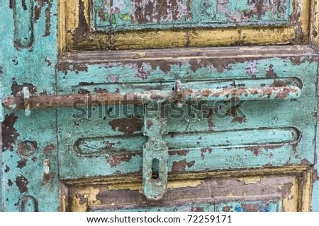 High resolution macro photograph of an old door handle - stock photo