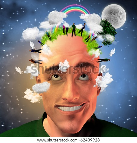 High Resolution Man with grassy head and standing people - stock photo