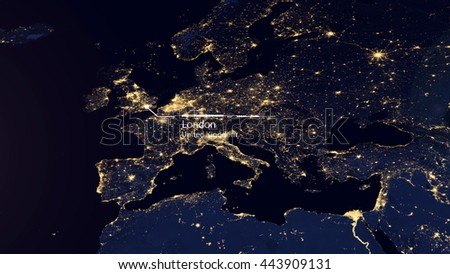 High Resolution Map Composition of Europe Pinpointing London, United Kingdom (Elements of this image furnished by NASA) - stock photo