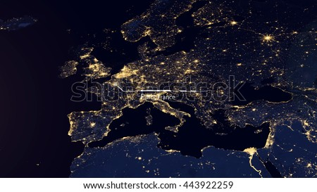 High Resolution Map Composition of Europe Pinpointing London, United Kingdom (Elements of this image furnished by NASA)