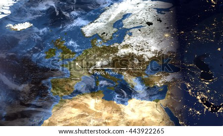 High Resolution Map Composition of Europe Pinpointing Paris, France (Elements of this image furnished by NASA) - stock photo