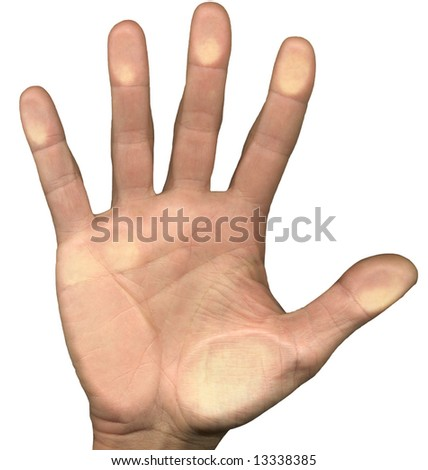 High resolution of a male hand pressing on a glass window - stock photo